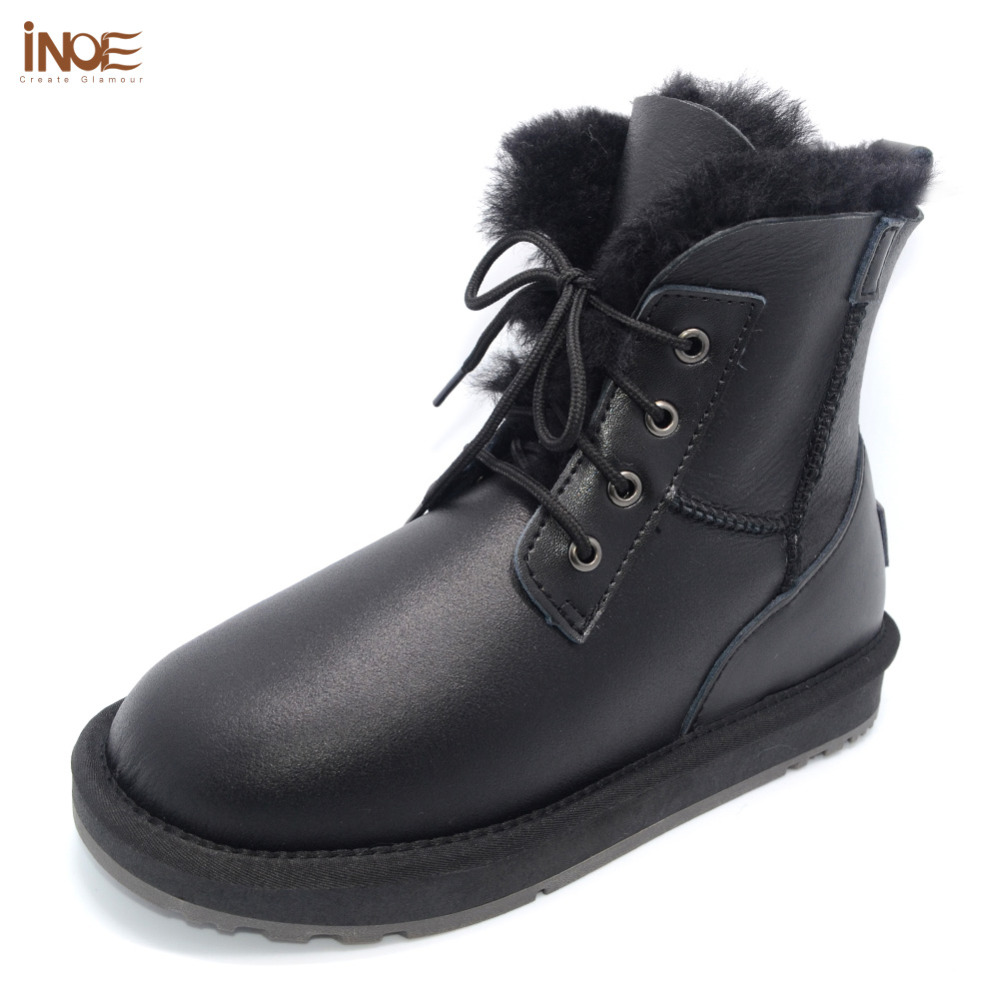 genuine sheepskin leather fur lined men ankle winter snow boots for man lace up casual winter shoes waterproof black 35-44 us 6 10 mens black genuine leather lace up fur lined ankle boots winter warm oxford dress shoes