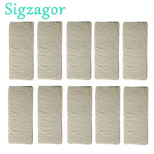 [Sigzagor]10/lot Newborn Bamboo Inserts High Quality Washable Reusable Baby Cloth Diapers Nappies 4 Layers 11cmx32cm(China)