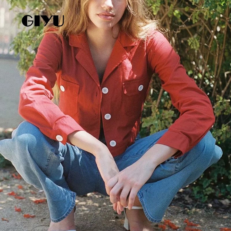 GIYU Spring Long Sleeve Vintage Short Jackets With Buttons Women Red Casual Jacket Turn-Down Collar High Street Cloth