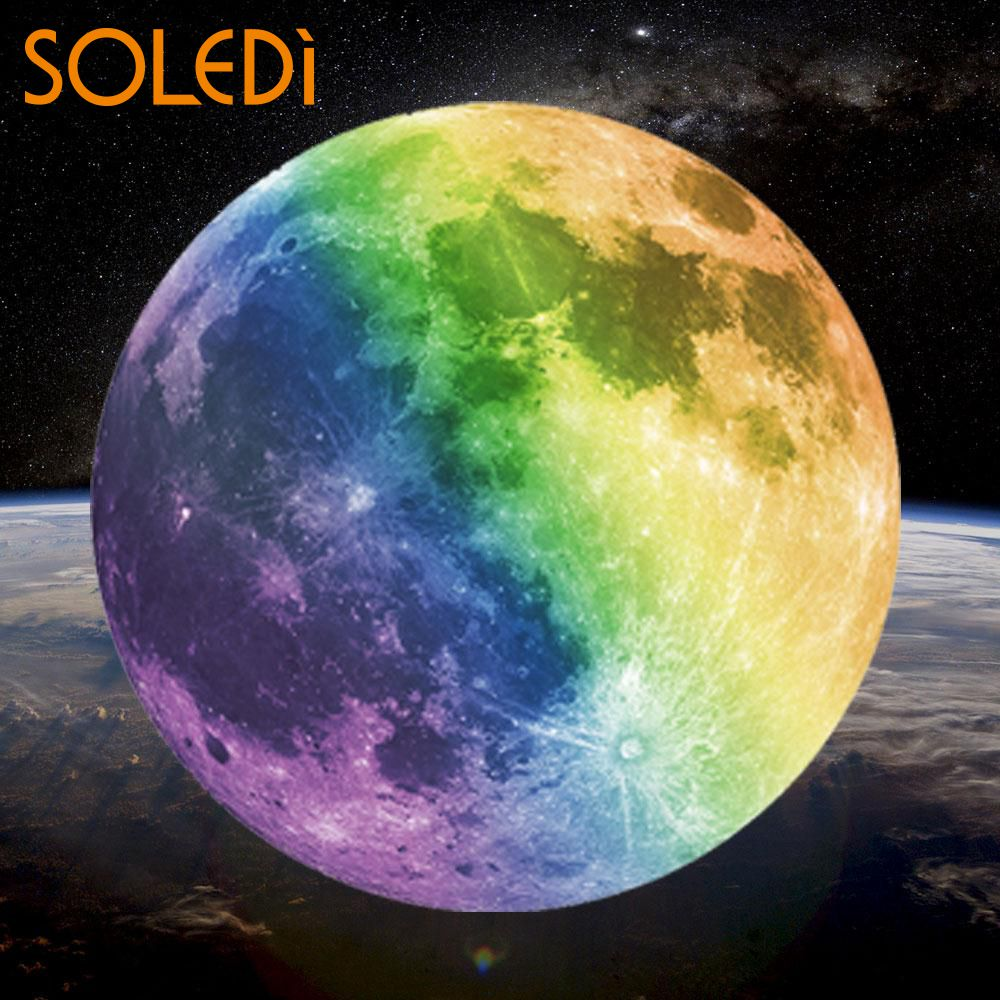 SOLEDI 30cm Glowing Moon Wall Sticker Removable Luminous Fluorescent Glow In The Dark for Kids Rooms Novelty Home Decor