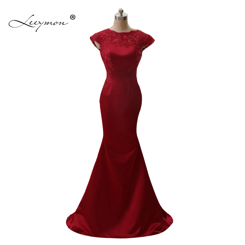 Leeymon Sexy Mermaid Open Back Honor of Bride Cap Sleeves Lace Bridesmaid dress Wine Red Wedding Party Dress A134