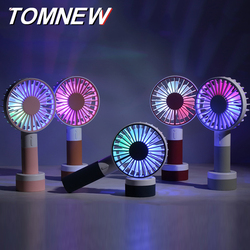 TOMNEW USB Mini Desk Handy Fan Portable 1200mAh 2 Speed LED Night Light Table Handheld Fan with Sling for Home Office Outdoors