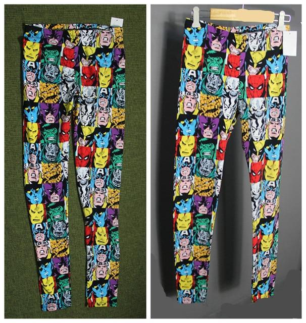 1adab8e63e Marvel comics leggings women Plus size surper elastic spring fashion  Cartoon print Avengers hero punk cool casual legging pants