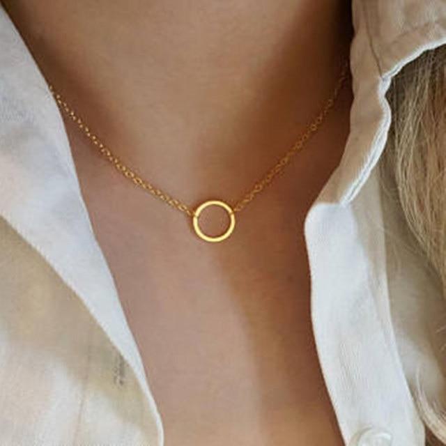 Винтажное минимальное изящное круглое ожерелье для женщин из нержавеющей стали, Золотая цепь, Геометрическая карма, круглое ожерелье, ювелирное украшение, подарок для вечеринки