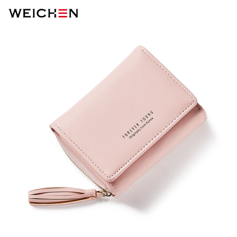 Weichen tassel pendant design small clutch wallets for women coin purses card holders invoice pocket pu