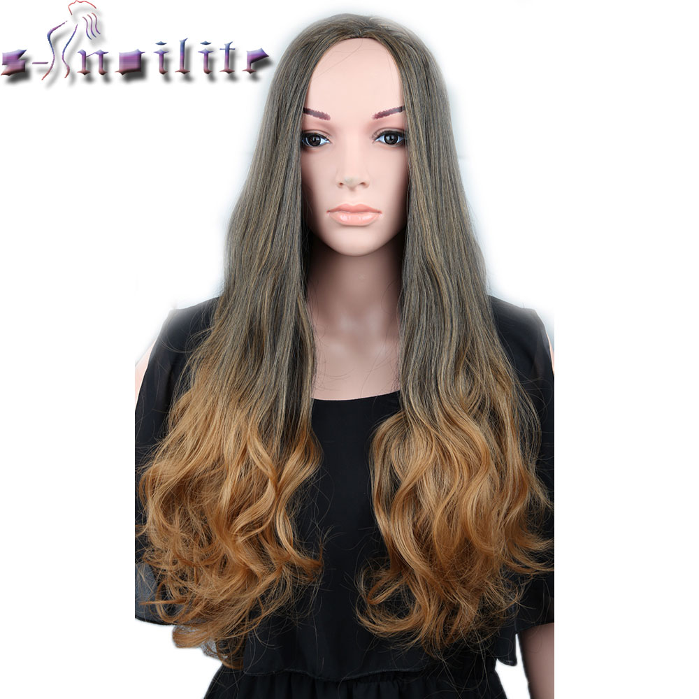 S-noilite 25inches Thick Clip In Hair Piece Long Half Wig Black Blonde Brown Ombre Curly 3/4 Full Wigs Synthetic Heat Resistant