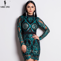 Missord 2018 Sexy Women Long Sleeve Sequin Backless Dresses Women Hollow Out Maxi Party Elegant Bodycon Dress FT9564