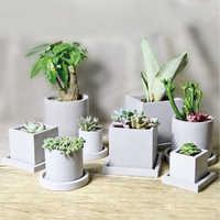 Concrete Flower pot Silicone molds Round Square cement succulent plant flowerpot mold gypsum vase molds