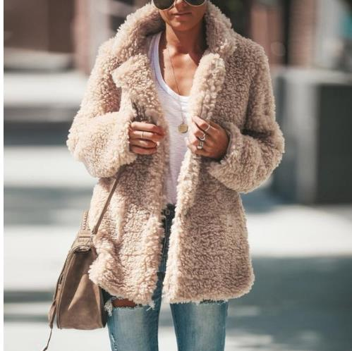 2019 New Winter Pocket Faux Fur Teddy Bear Coat Jacket Women Fashion Open Stitch Coat Female Long Sleeve Fuzzy Jacket Coat