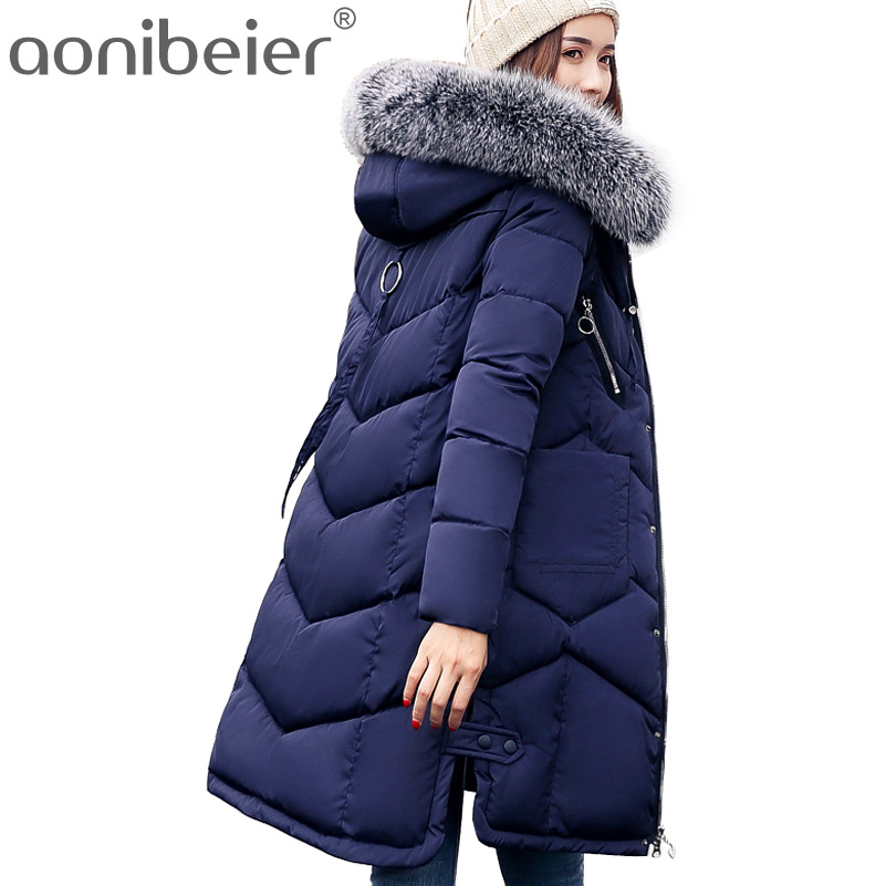 Aonibeier Long Parkas Winter Warm Cotton Padded Jacket Women Coat Larger Faux Fur Collar Hooded Slim Female Long Overcoat women s thick warm long winter jacket women parkas 2017 faux fur collar hooded cotton padded coat female cotton coats pw1038
