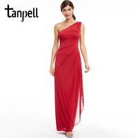Tanpell One Shoulder Evening Dress Burgundy Ruched Chiffon Sleeveless Zipper Up Dresses Women Prom Straight Long