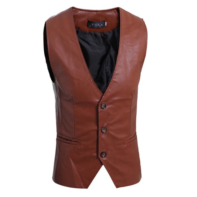 Blazer Men 2017 Men'S Fashion Suit Vest Brand Male Solid Leather Vest Three Button Mens Vest Terno Masculino XL YEMV