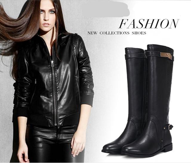 2016 marks knee buckle Designer high boots flat genuine leather ...