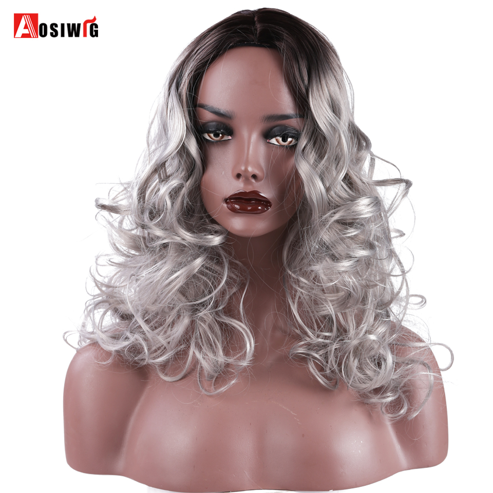 """Sporting Aosi Lange Ombre Sliver Donkere Wortels Zwart Golvend Haar Synthetische 18 """"cosplay Pruiken Voor Amerikaanse Afrikaanse Vrouwen Hittebestendige Modieuze (In) Stijl;"""