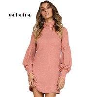 Echoine Women Mini Dress Dusty Pink Black Corduroy Ribbed High Neck Lantern Sleeve Slim Autumn Winter Solid Casual Brief Dresses