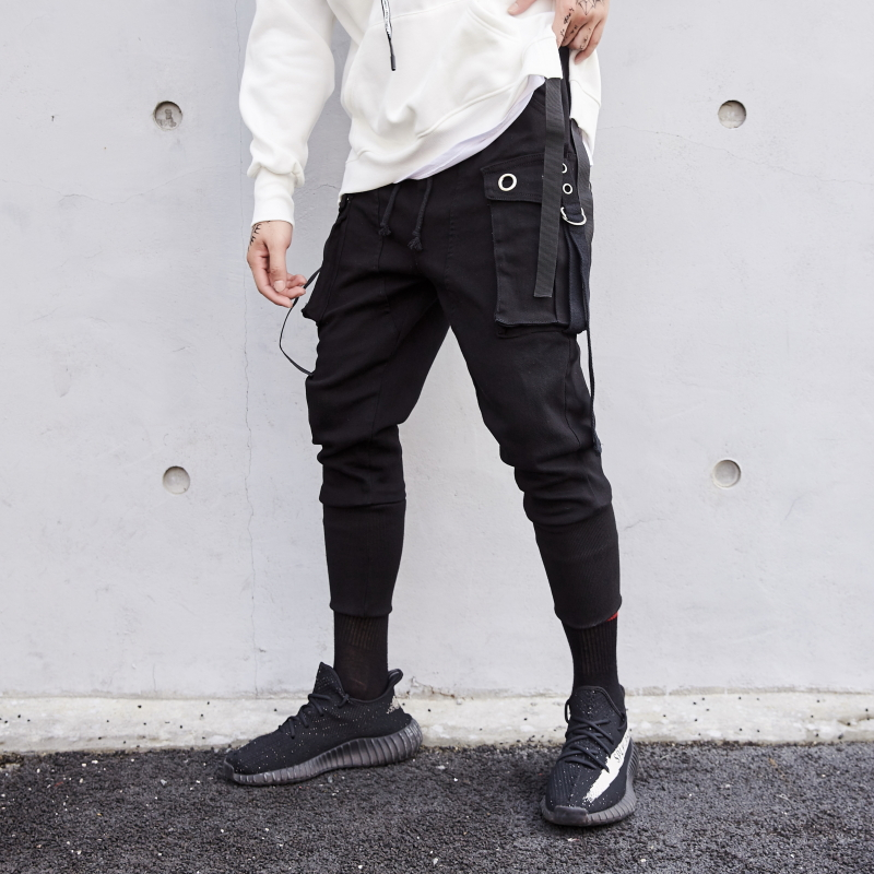 Men multi pockets hip hop punk harem pants ribbons street wear mens casual joggers hiphop cargo trousers pantalon homme-in Harem Pants from Men's Clothing