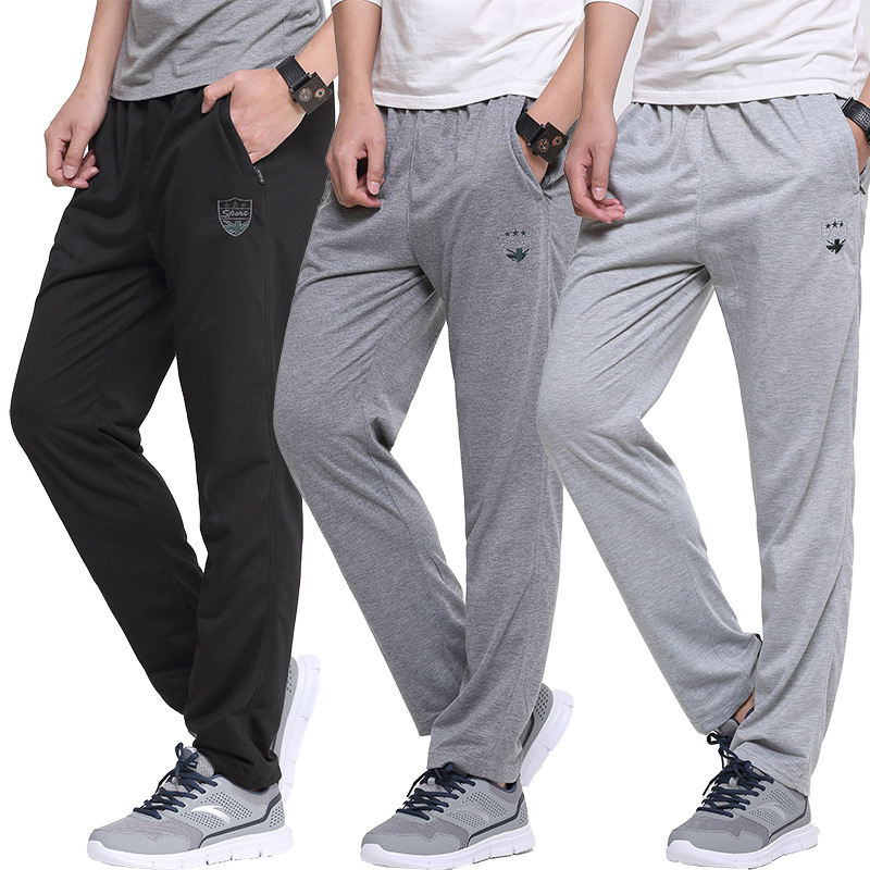 Summer Breathable Sport Straight Pants Embroidery Slim Elastic Waist Pants Cotton Sweatpants Men Jogger Casual Pants Trousers