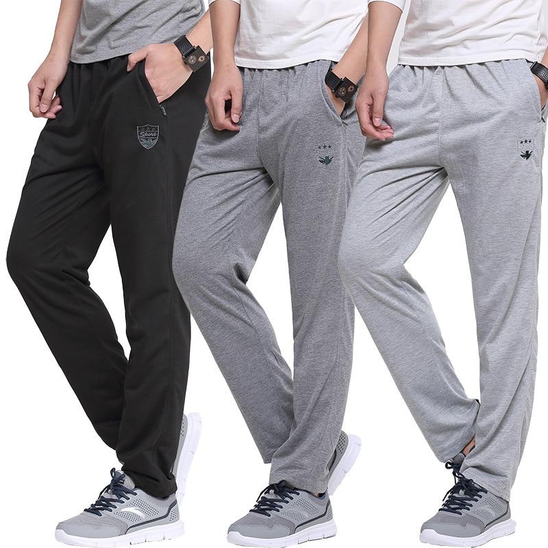 Summer Breathable Sport Straight Pants Embroidery Slim Elastic Waist Pants Cotton Sweatpants Men Jogger Casual Pants Trousers