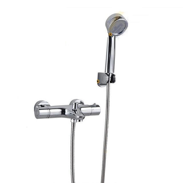 2 water outlet Thermostatic shower faucet set with hand