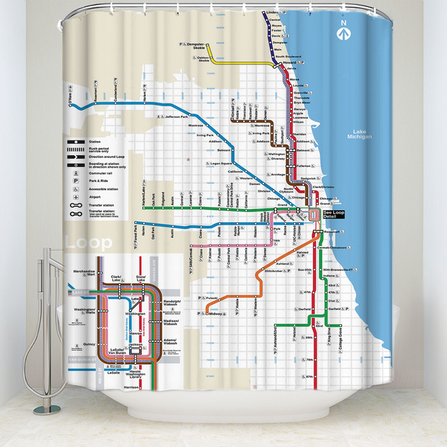 US $15 52 35% OFF CHARMHOME Custom Bathroom Decor Fabric Curtains Classic  Chicago Tube Subway Map Pattern Waterproof Polyester Shower Curtain-in