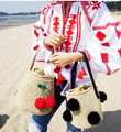 Korea Cool girl cute cherry ball ball shoulder bag straw bags beach bags Resort