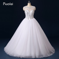 Real Image Charming Ball Gown Wedding Dresses Scoop Sequined Wedding Gown 2016 White Bridal Dresses Vestido