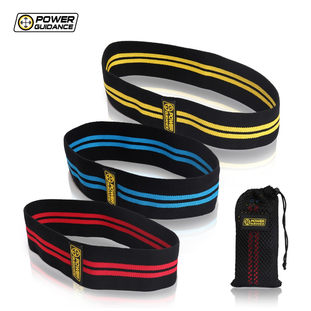 POWER GUIDANCE Cotton Hip  Resistance Bands Set Booty Exercise Elastic Bands For Fitness Workout Hips & Glutes