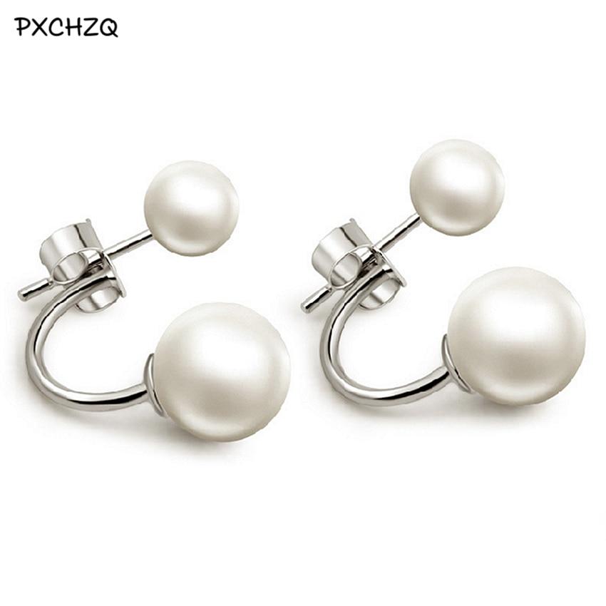 f29f6d8a259b Plata color dos vistiendo una alta imitación perla pendientes de joyería  salvaje señoras moda joyería de alta calidad lindo 6 + 10mm
