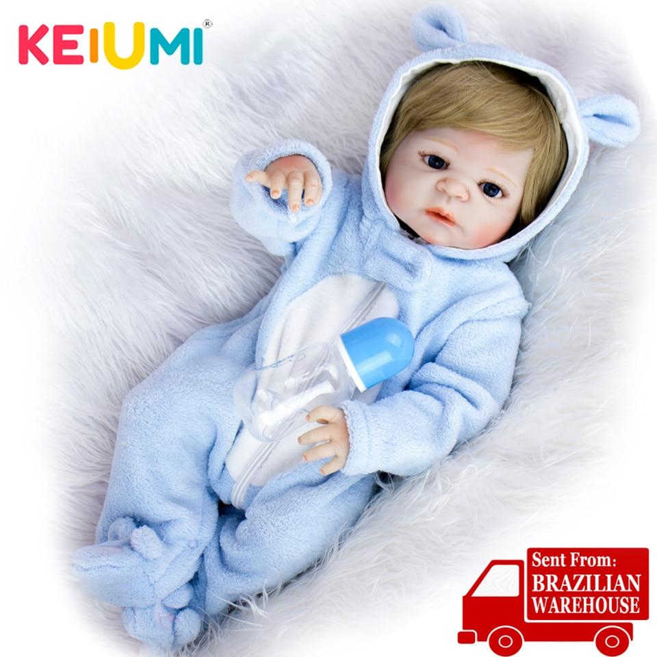 Keiumi 23 lifelifelifelike corpo de silicone completo renascer bebê menino adorável ouro cabelo boneca do bebê brinquedos da criança banhar presentes