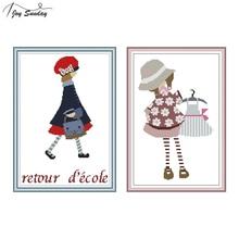 Joy Sunday Chinese Cross Stitch Kits Aida Fabric 14ct 11ct Printed Canvas DMC DIY Needlework Embroidery Girl Patterns