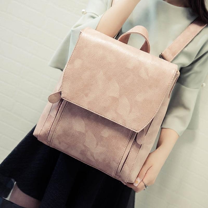 2017 Preppy Style Women Backpack Pu Leather Casual Shoulder School Bags For Teenage Girls Ladies Travel