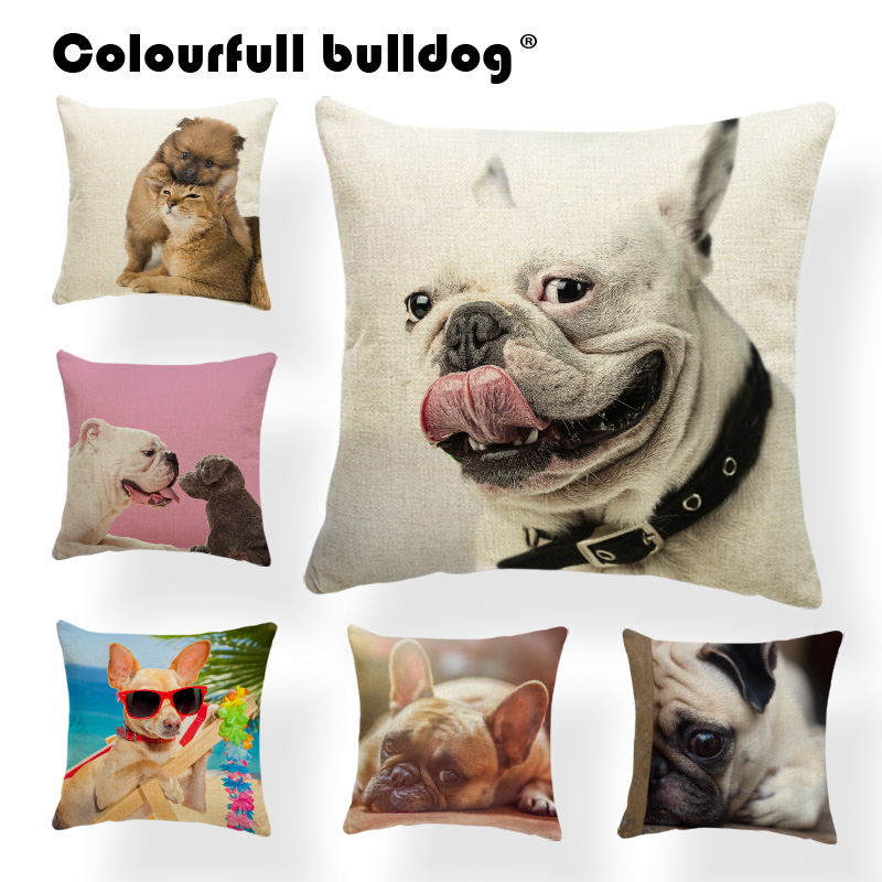 Cartoon French Bulldog Cats Cushions Pillow Covers Basket Books Chirstmas Hat Throw Pillows Beach Palm Leaves Kids Room Decorate