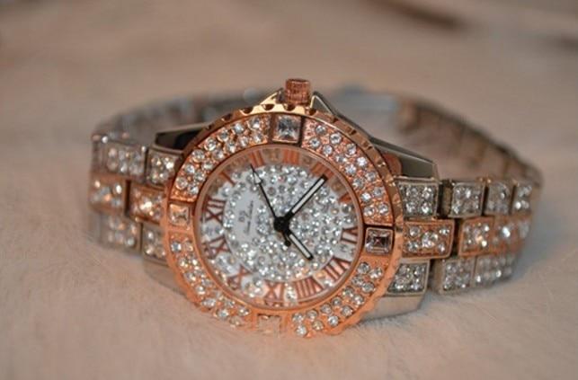 2014 nowych kobiet rhinestone zegarki sukienka ze stali kobiet - Zegarki damskie - Zdjęcie 3