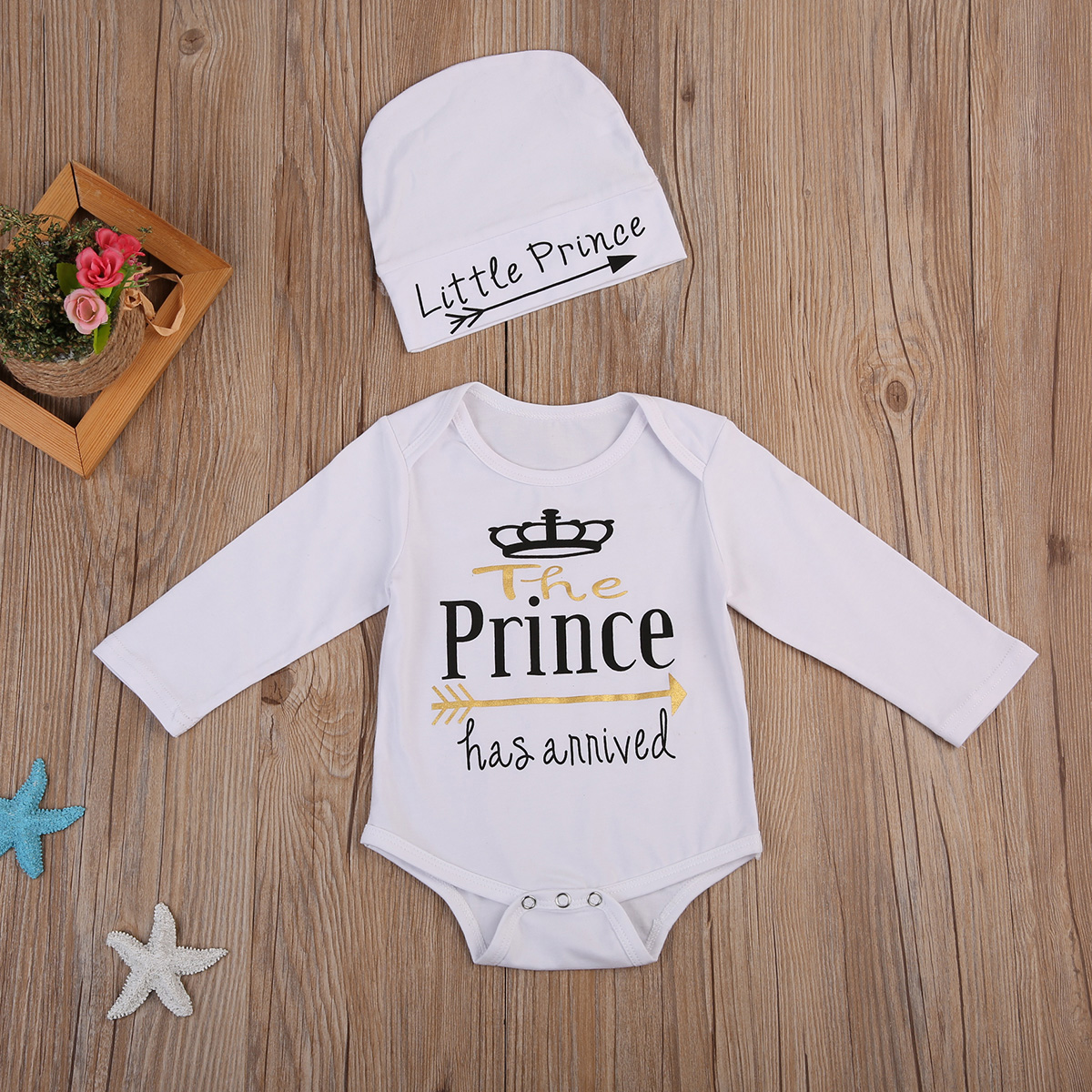 Newborn Toddler Baby Boy Prince Bodysuit Jumpsuit Clothes Outfits 0-24M