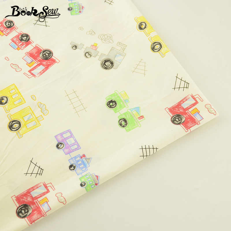 Booksew Sewing Cloth Beige 100% Cotton Twill Fabric Quilting Tecido For Baby Beding Dolls Pillow Train Patterns Home Textile