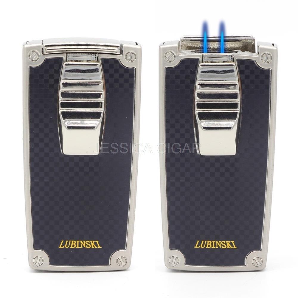 LUBINSKI металла карман бутан 2 пламя огня Jet сигары прикуривателя факел курение зажигалки с сигарой удар подарочная коробка