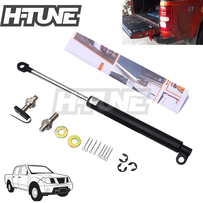H-TUNE 4x4 Pickup Stainless Steel Rear Tailgate Slow Down Shock Up Lift Gas Strut for Frontier Navara D40 2005-2014 lift kit for toyota hilux revo