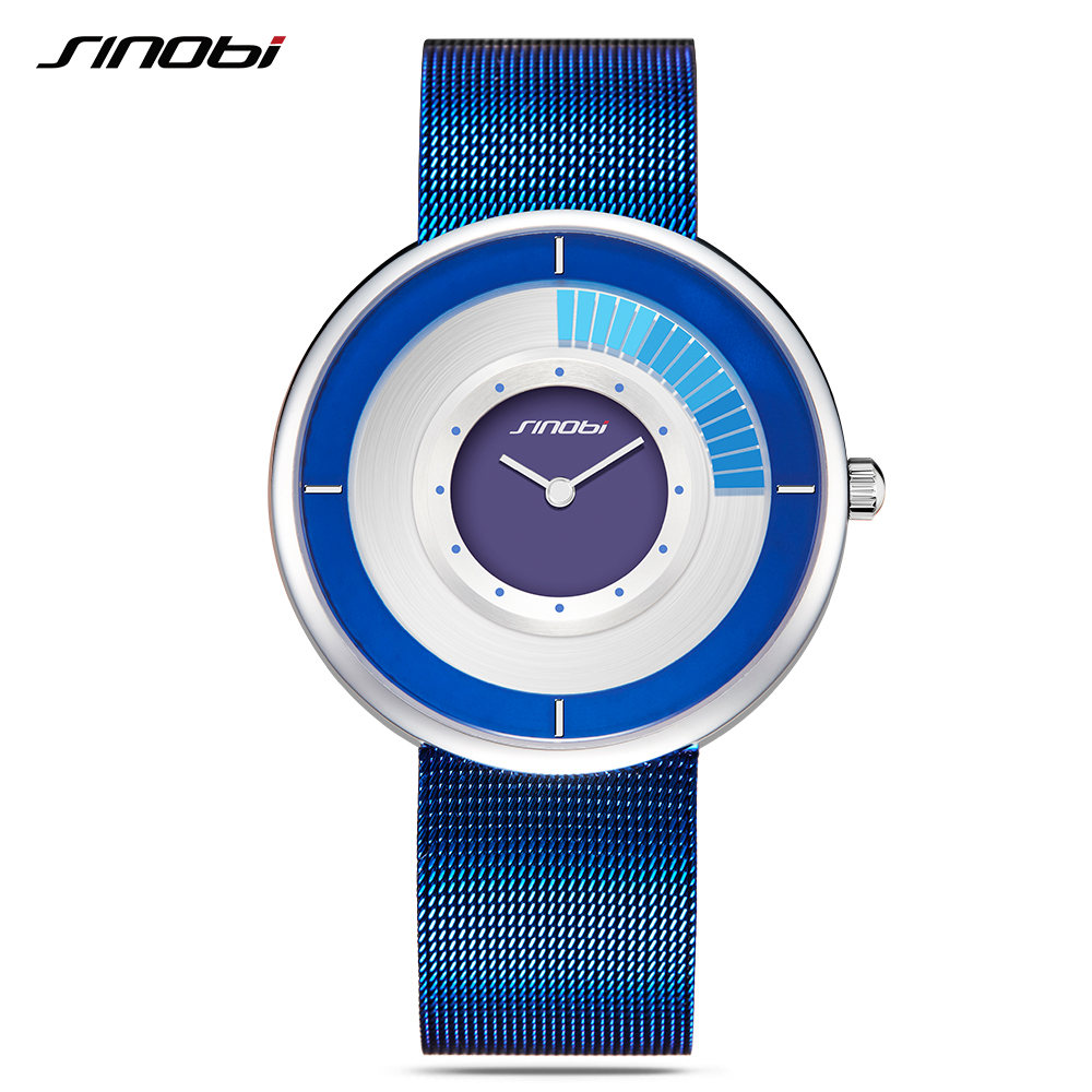 цены SINOBI Ultra-thin Dial Mens Watches Top Brand Mesh Strap Wristwatch Rotate Creative Quartz Watch Male Fashion Relogio Masculino