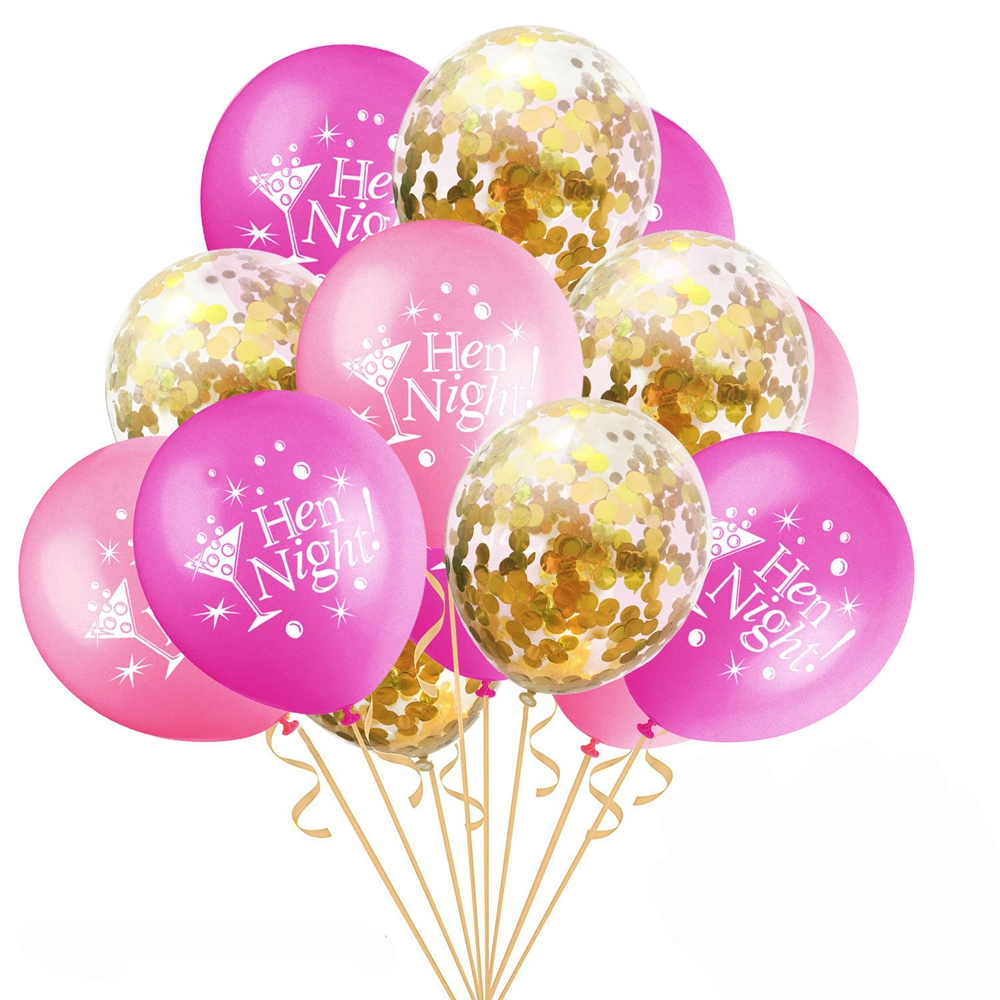 15PCS 12inch Confetti Latex Balloons Hen Party Night Balloons Latex ...