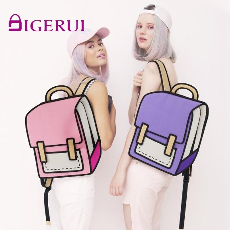 Student Bags Comic Women Backpack Messenger Cartoon Back-Bag Knapsack Drawing Fashion