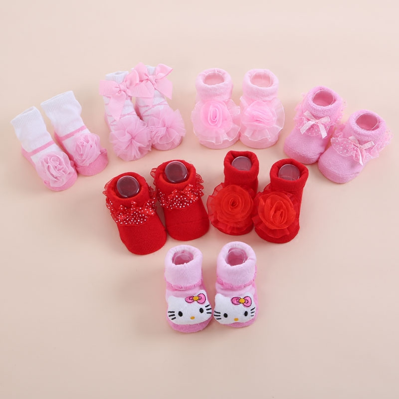 Cute New Born Baby Girl Socks Prinsesse Hvid Rød Spædbarn Lace Toddler Sock Cotton Bowknot Sæt Children Meias Infantil