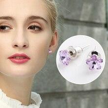 Warme Farben Women Stud Earrings Crystal  Purple Fine Jewelry Flowers Zircon 925 Sterling Silver for Lady