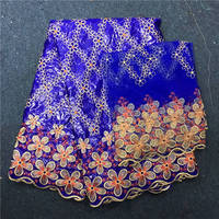 Royal Blue Dubai Style Brocade Fabric Bazin Riche Getzner Fabric Jacquard Brocade Fabric with Beads And Stones 7yards 30