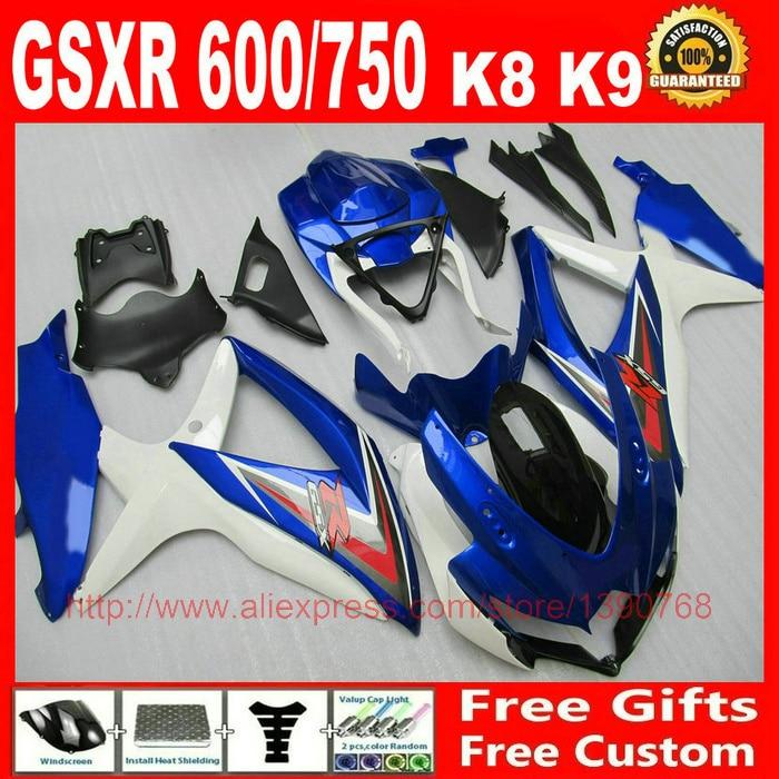 Kit de carénage pour Suzuki GSXR 600 GSXR 750 08 09 10 bleu blanc noir carénages ensemble K8 GSX R 600 750 2008 2009 2010 BM88