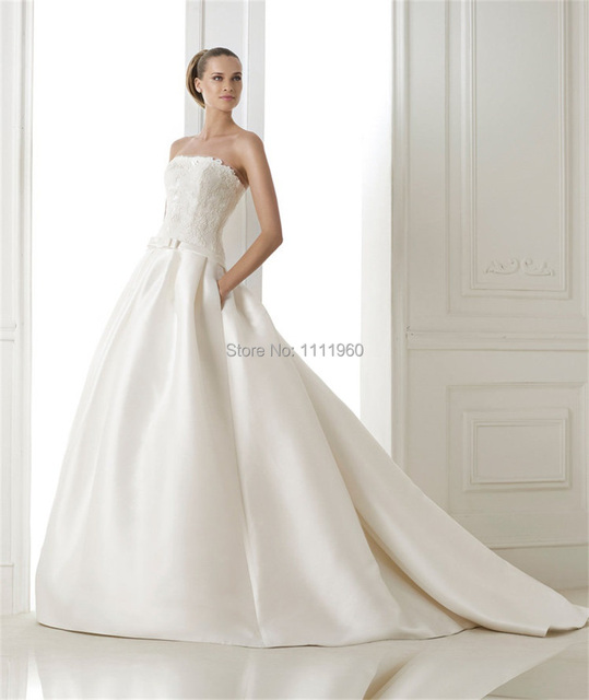 Simple Design 2014 Winter Wedding Dress Strapless Top Lace Bridal ...