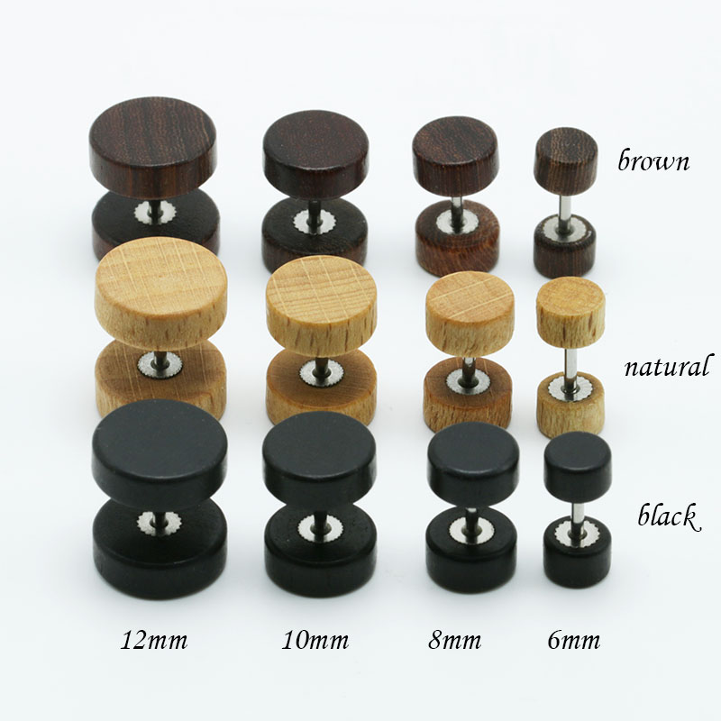 1pair Fashion Wooden Ear Studs Earrings Natural Brown Black 6mm 8mm 10mm 12mm Punk Barbell Fake Ear Plugs Brincos For Men Women2