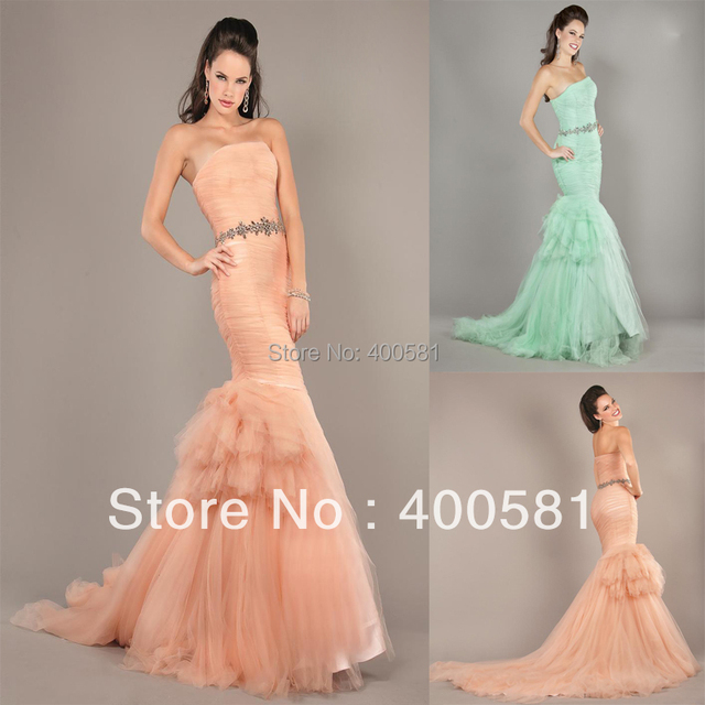 91a3ba22fbbc7d Blingbling Sweetheart Jeweled Waist Ruched Tiered Long Blush Light Green Tulle  Mermaid Evening Dress