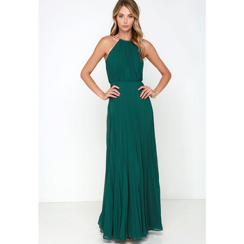 79f8249c1 Invierno mujeres Sexy vestidos largos de fiesta 2016 sin mangas elegante  Casual plisado gasa Maxi Vestido de fiesta nuevo talla grande
