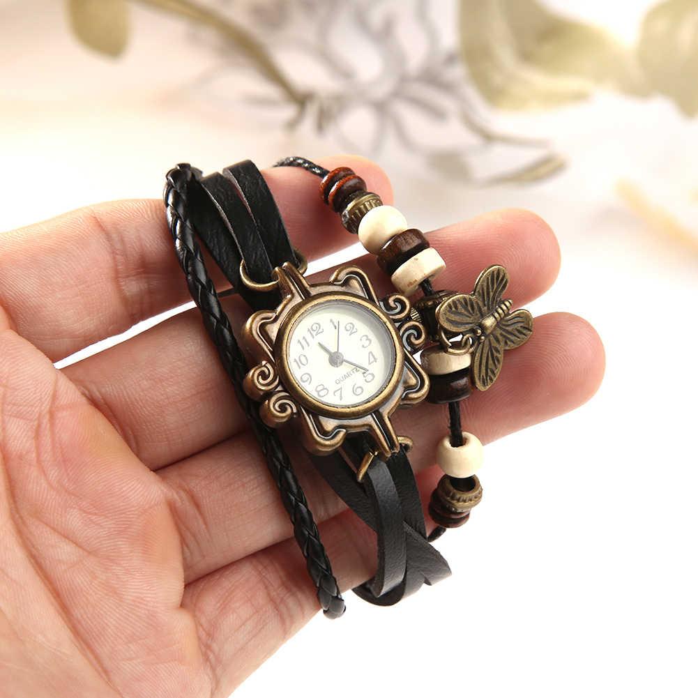 Moda feminina retro falso pulseira de couro borboleta decoração relógio de pulso de quartzo