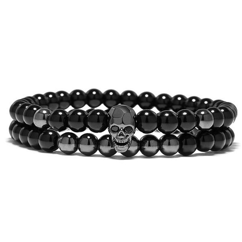 DIEZI One Sets 6mm negro energía Yoga calavera encanto pulsera para hombres mujeres piedras naturales budista hebra pulseras joyería 3